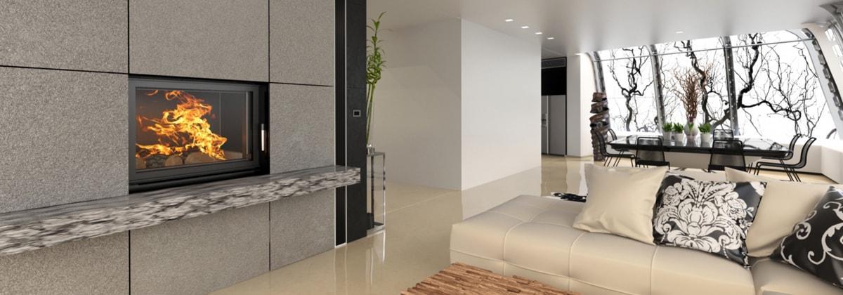 Камин в интерьере комнаты
