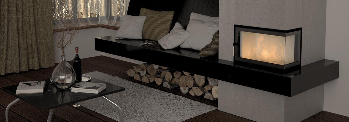 Угловой камин в домашнем интерьере