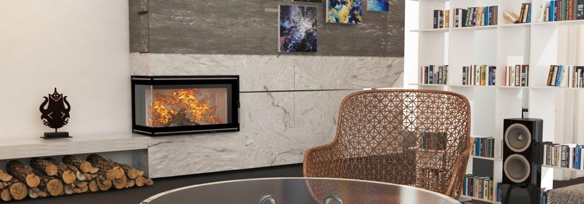 Дизайн комнаты с угловым камином