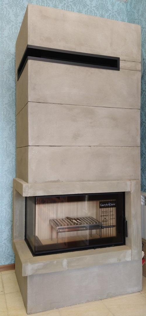 Модульный короб для углового камина из шамотека