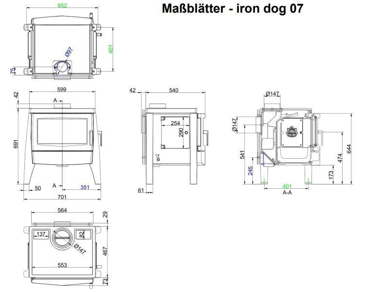 печь брюннер iron dog 07 чертеж