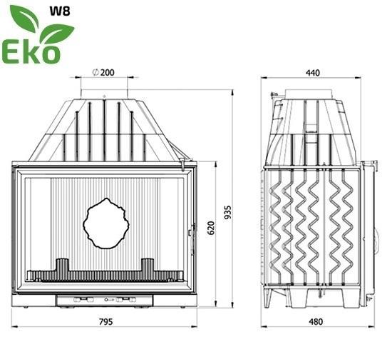 Топка KAWMET W8 (17.5 kW) EKO чертеж