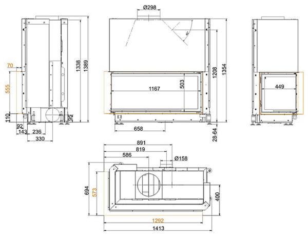 топка brunner architektur-eck-53-121-50-left чертеж