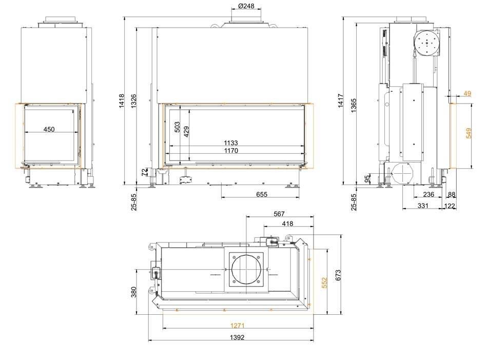 топка brunner architektur-eck-53-121-50-right xthnt;
