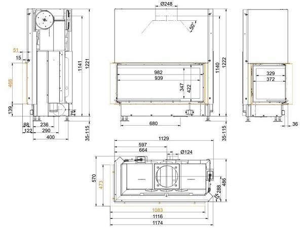 Топка Brunner Architekture Eck-Kamin 45-101-40 Left чертеж