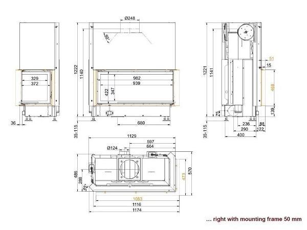Топка Brunner Architekture Eck-Kamin 45-101-40 Right чертеж