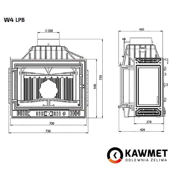 Размеры трехсторонней топки Кавмет w4
