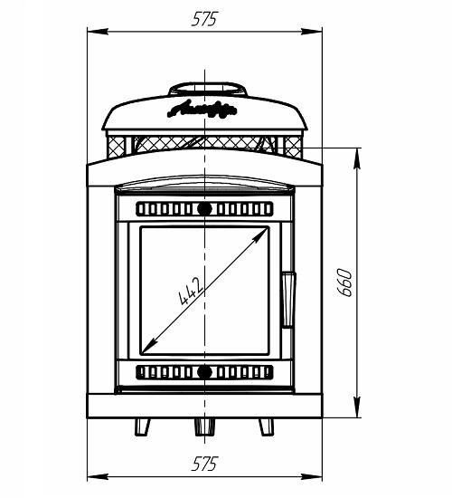 банная печь Атмосфера чертеж фасада