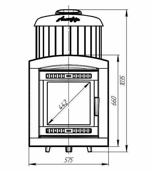 Банная печь Атмосфера ламели змеевик чертеж фасада 1